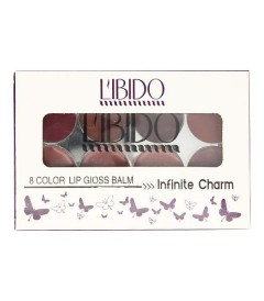 پالت رژلب 8 رنگ لیبیدو LIBIDO 8 COLOR LIP GLASS BALM